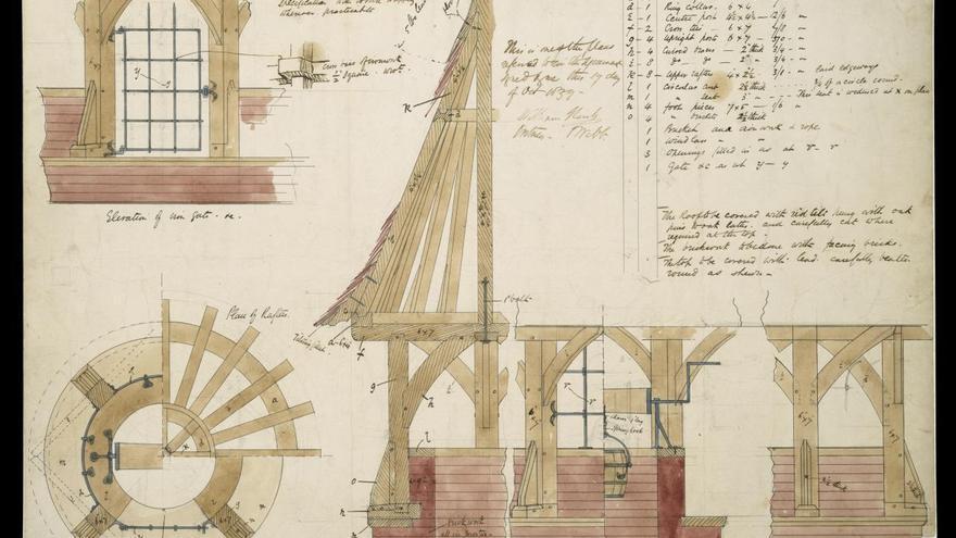 Philip Webb, Detalles constructivos de la cubierta del pozo de Red House, Bexleyheath, 1859.