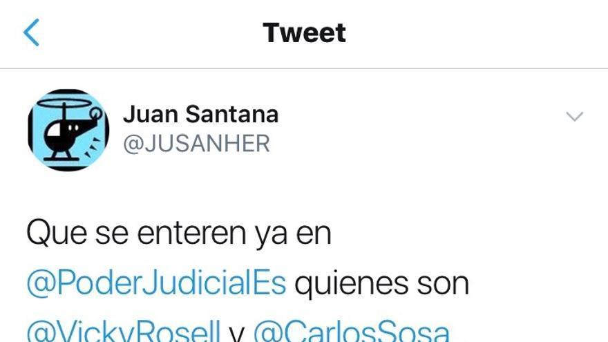 Uno de los tuits publicados por Juan Santana en el periodo analizado por el juez que lo ha procesado.