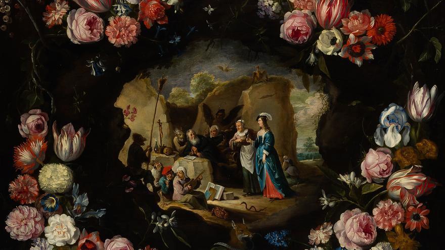 Guirnalda de flores con las tentaciones de San Antonio, David Teniers el joven, Jan Brueghel el joven, cortesía Arthemisia España