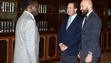 Teodoro Obiang junto a José Bono y Jaime García Legaz durante su visita el pasado 12 de julio. Foto: Oficina de prensa de Guinea Ecuatorial.