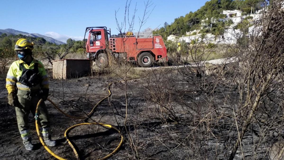 Incendio de menos de una hectárea en Alcalalí el pasado 29 de diciembre.