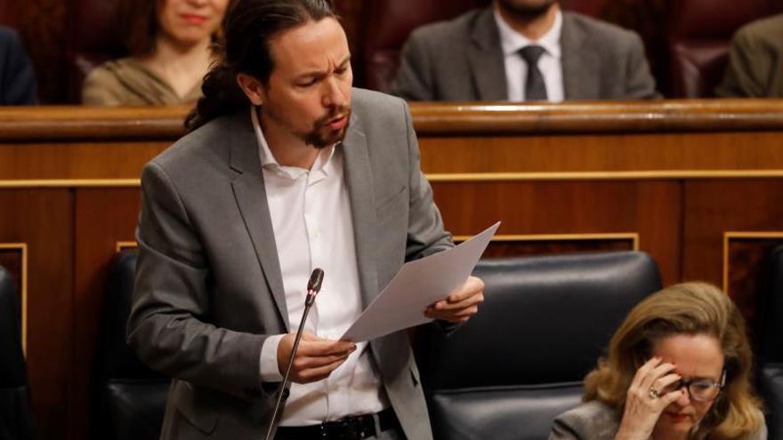 El vicepresidente segundo, Pablo Iglesias, interviene durante la sesión de control, este miércoles en el Congreso de los Diputados.