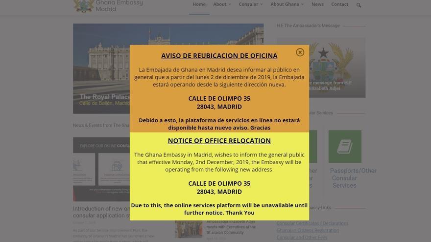 Página web de la Embajada de Ghana, anunciando su traslado a la antigua sede de IU.