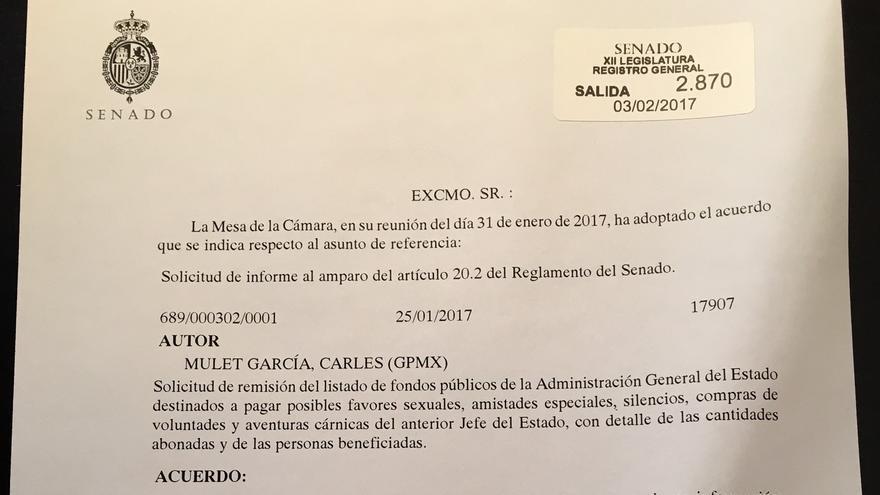 Respuesta de la Mesa del Senado a Carles Mulet