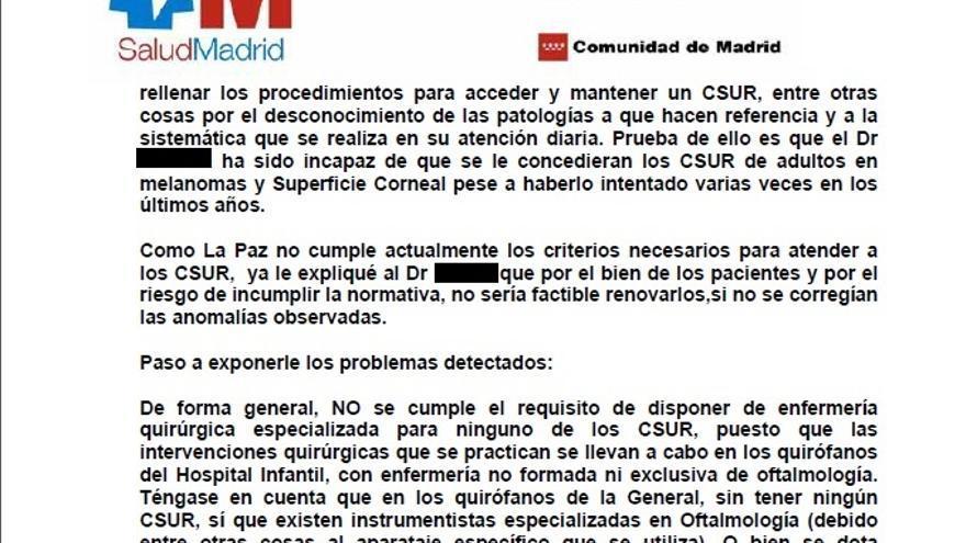 Extracto de la queja emitida por José Abelairas al ministro de Sanidad