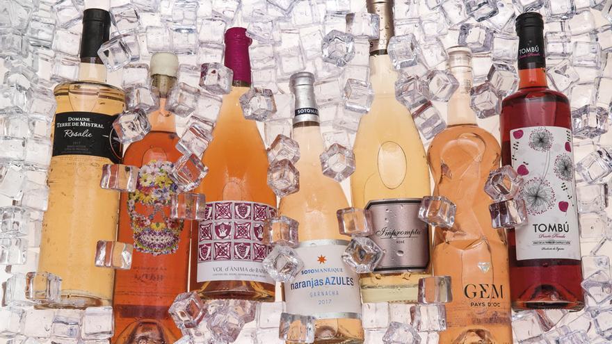 Selección de vinos rosados gourmet.