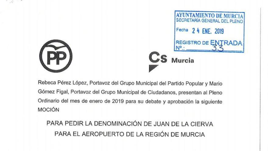 PP y Cs piden la denominación de 'Juan de la Cierva' al aeropuerto de la Región de Murcia