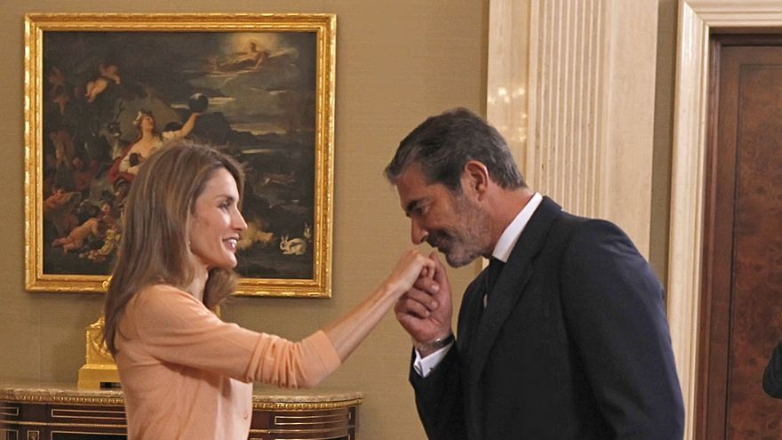 La Princesa de Asturias, Letizia Ortiz, con Pedro López Quesada durante una audiencia en Madrid. Foto: GTRES