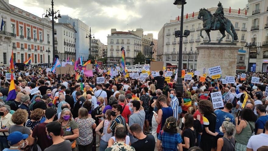 Manifestación contra las agresiones al colectivo LGTBI en Madrid el 11 de septiembre.