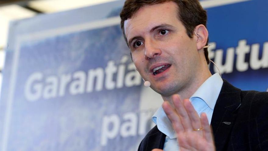 Pablo Casado, durante el acto de presentación de Antona como candidato del PP de Canarias
