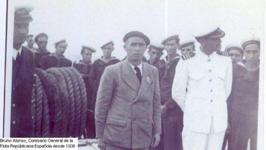 Bruno Alonso fue nombrado comisario general de la Flota Republicana durante la Guerra Civil, cargo que ejerció hasta el final de la contienda. En la fotografía, a la izquierda, con la boina que le hizo famoso en el Congreso, pasa revista al crucero 'Libertad'. | FUNDACIÓN BRUNO ALONSO