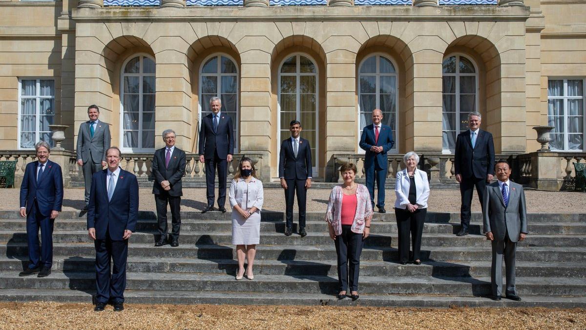 Los ministros de Finanzas del G7, reunidos en Londres el 5 de junio de 2021.