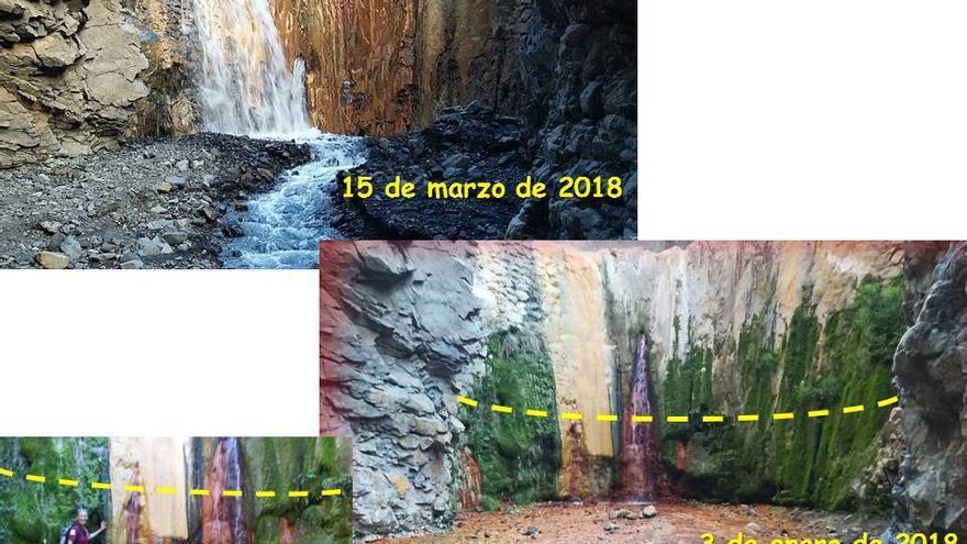 Imagen del entorno de la Cascada de Colores el pasado 15 de marzo de 2018.