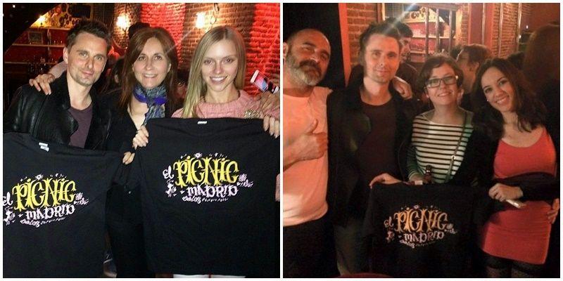 Matt Bellamy, guitarrista y cantante de Muse, junto a Eva Picnic (izquierda) y con otros asistentes a la fiesta, entre ellos Paula Meliveo (derecha) | PICNIC BAR