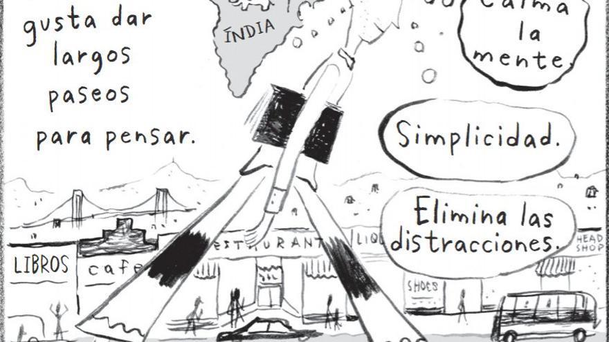 Steve Jobs, preparándose para ir a la India (Imagen: cedida por la editorial Espasa)