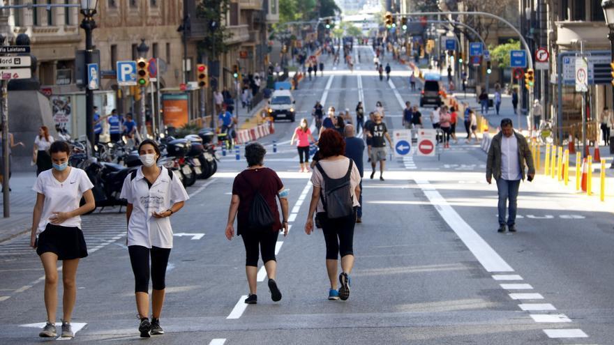 Via Laietana, cortada al tráfico durante uno de los fines de semana del desconfinamiento