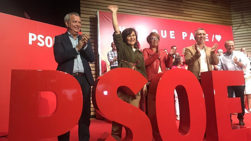 Carmen Calvo, en el acto de precampaña celebrado en Las Palmas de Gran Canaria
