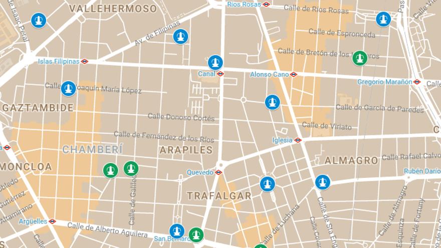 Detalle del mapa de las fuentes actuales y futuras en Chamberí