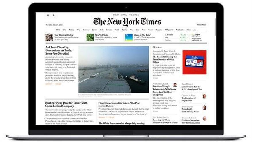 Portada digital del New York Times