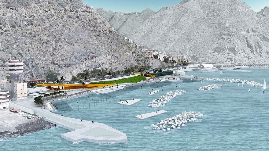 Infografía con el resultado del proyecto de litoral previsto en Valleseco, en Santa Cruz de Tenerife