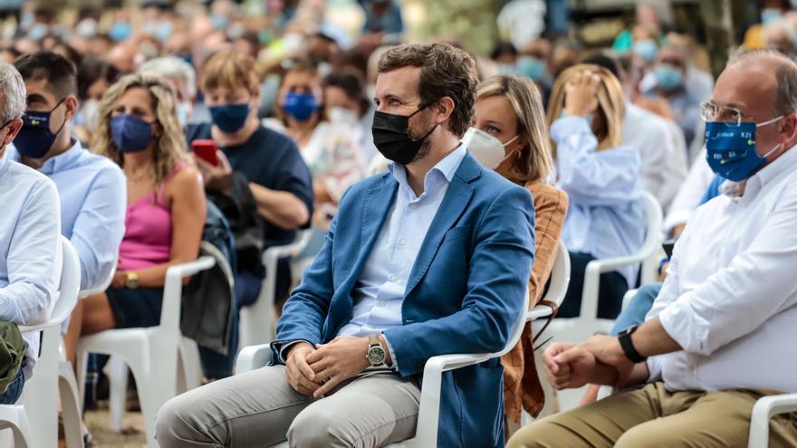 El líder del PP, Pablo Casado, en la apertura del curso político del PP, a 29 de agosto de 2021, en Cerdedo-Cotobade, Pontevedra, Galicia, (España).