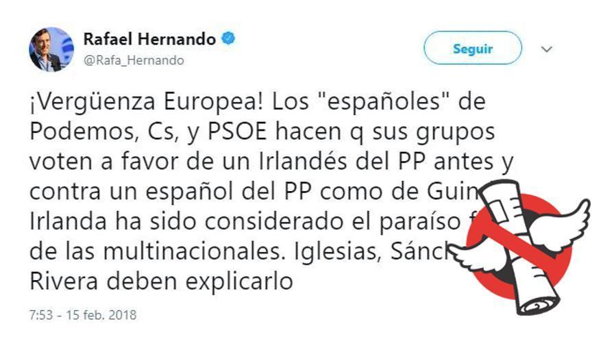 Tuit de Rafael Hernando en El Cazabulos