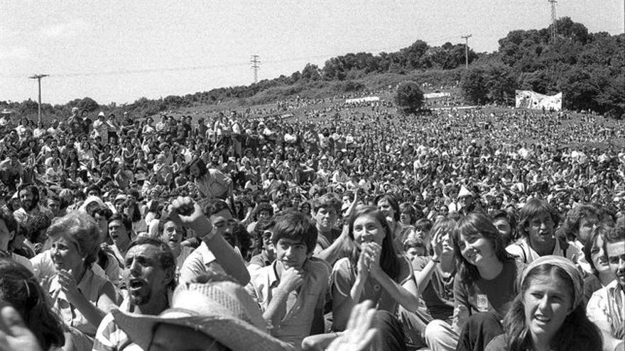 Concentración frente a la central nuclear de Lemoiz, en 1979