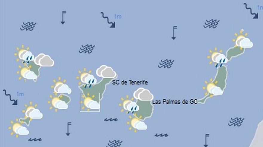 Mapa de la previsión meteorológica para el jueves 25 de agosto