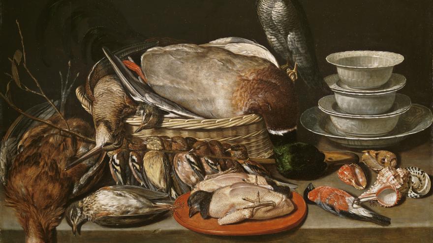 Bodegón con gavilán, aves, porcelana y conchas