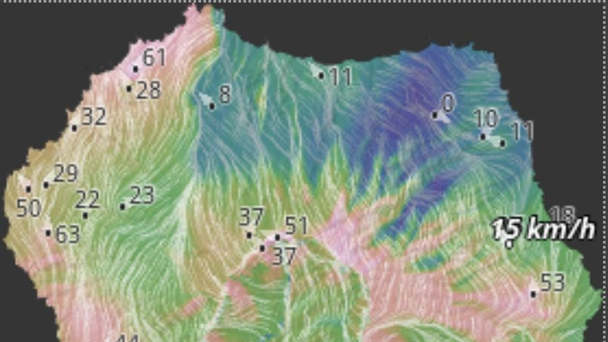 Mapa de HD Meteo La Palma son se indica las rachas de viento registradas este domingo, hasta las 10.20 horas, en diversos puntos de la Isla.