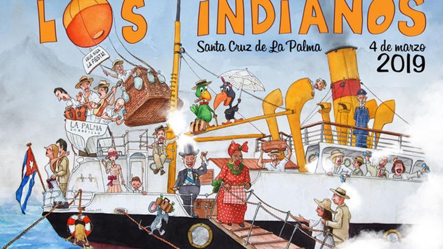 Cartel de Los Indianos 2019 del ilustrador Carlos Manuel Rodríguez 'Carlines'.