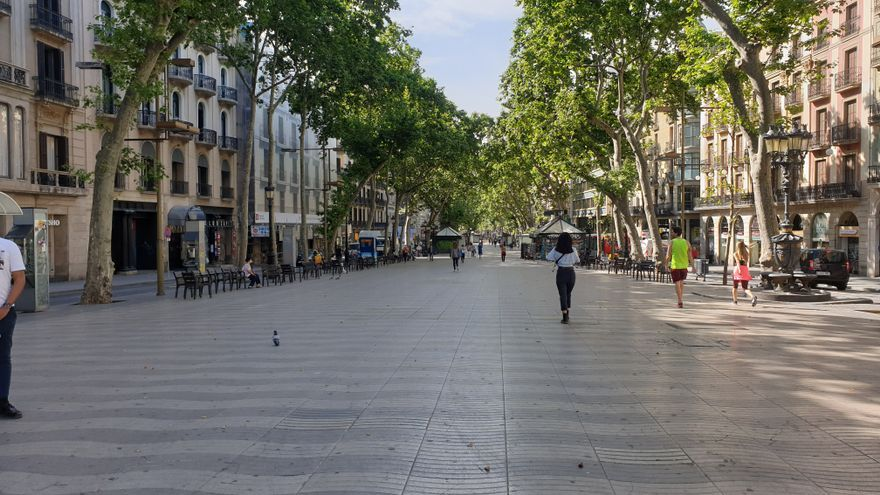 La Rambla de Barcelona, este lunes.