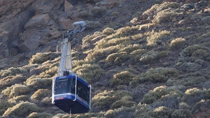 Rescate en una de las cabinas inmobilizadas en el Teide