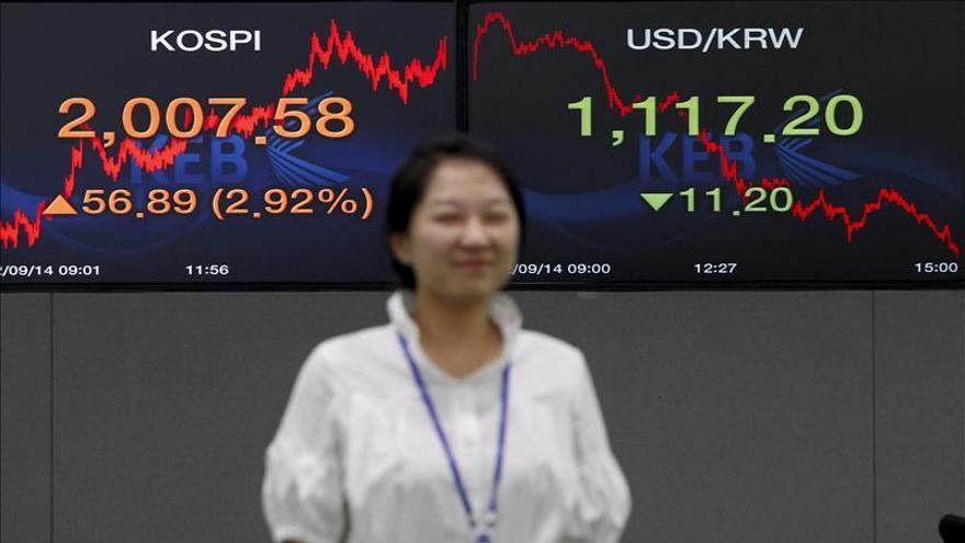 El Kospi surcoreano sube un 0,15 por ciento hasta los 2.100,63 puntos