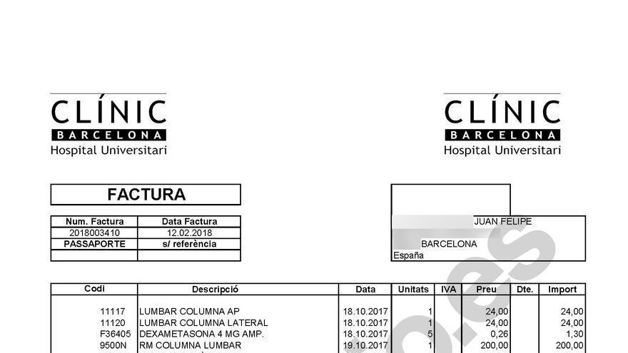 Factura del Clínic recibida por Juan Felipe