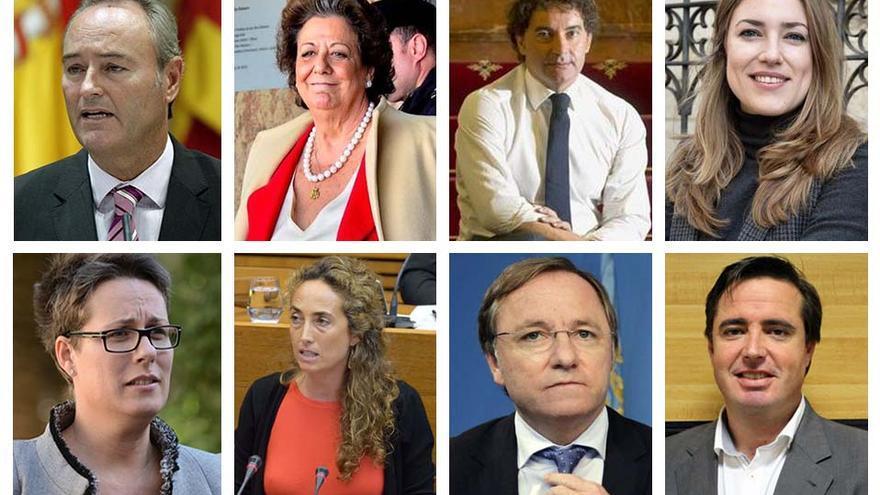 De izquierda a derecha y de arriba a abajo: Alberto Fabra, Rita Barberá, Francesc Colomer, María Such, María José Mira, Carolina Punset, Juan Carlos Moragues y Herick Campos
