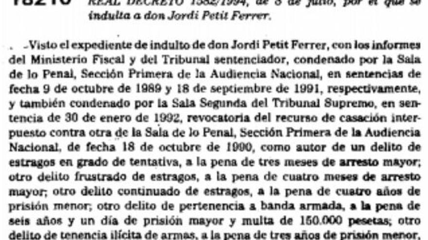 Real decreto con el indulto a Jordi Petit Ferrer