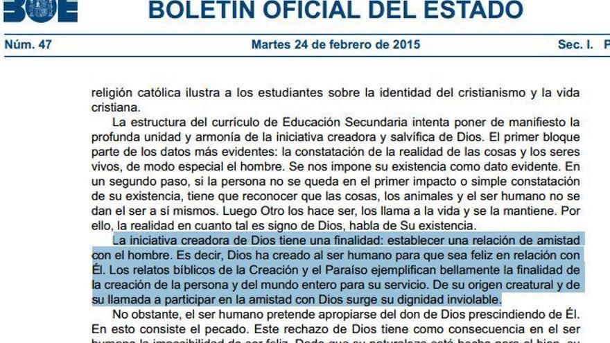 Párrafo del currículo de Religión publicado en el Boletín Oficial del Estado.