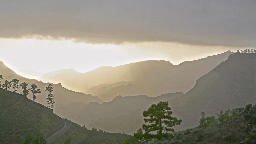 Cumbres de Gran Canaria durante el temporal de este viernes. Foto: Alejandro Ramos.