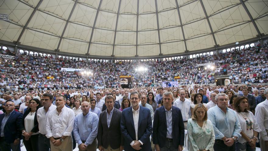 Mariano Rajoy y Alberto Núñez Feijóo durante un mitin del PP de Galicia, de cara a las elecciones del 25 de septiembre
