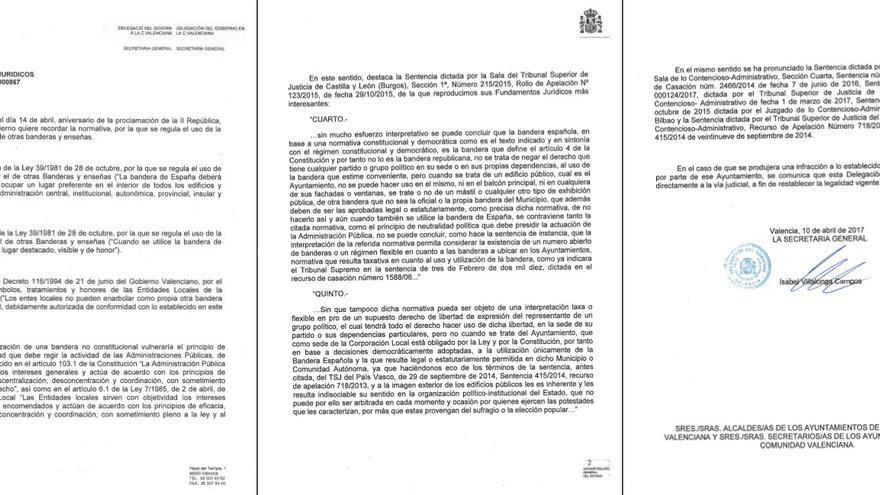 Circular enviada por la delegación del Gobierno de la Comunitat Valenciana a los ayuntamientos