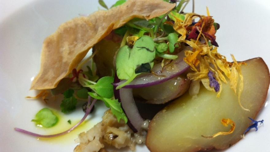 En la imagen, uno de los platos elaborados por los dos chefs palmeros.