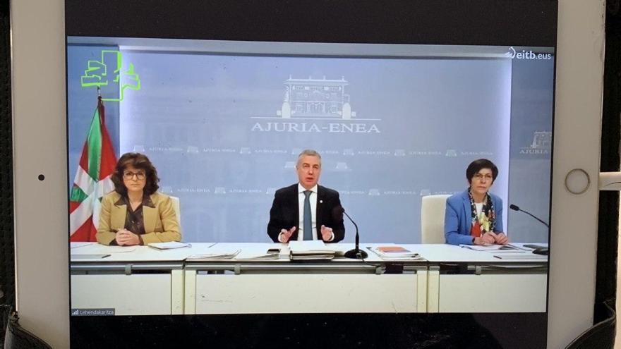 Captura de la comparecencia telemática ante el Parlamento Vasco de Urkullu y Murga