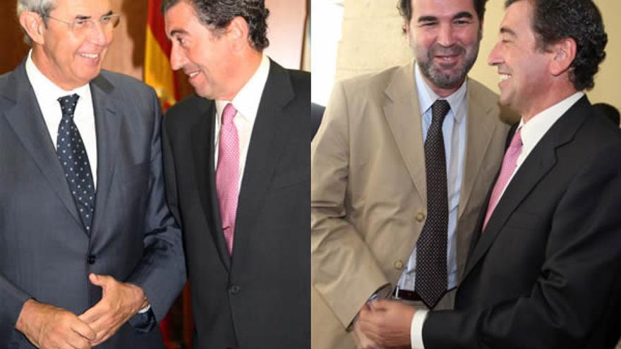 Benigno López, anterior Valedor do Pobo, con Touriño y Quintana