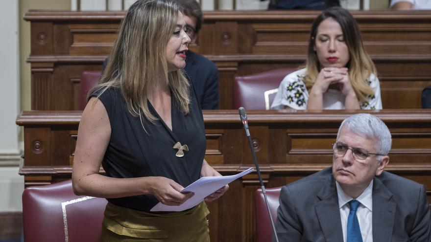 La diputada Dolores Corujo  en el Parlamento de Canarias.