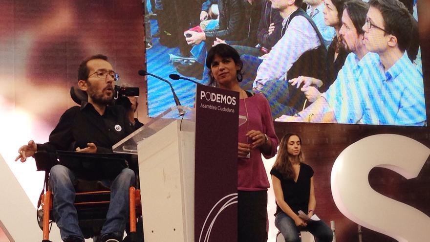 Pablo Echenique y Teresa Rodríguez, en Vistalegre 1.
