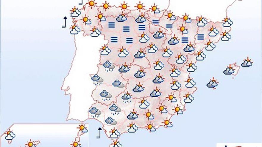 Hoy, lluvia en Galicia y Extremadura y máximas en ascenso en el Levante