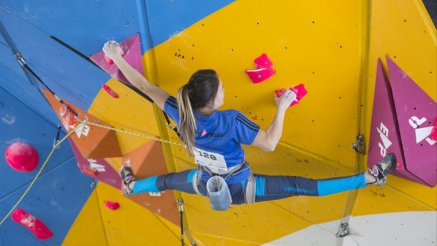 Francis Guillén este fin de semana en la prueba celebrada en Sputnik Climbing Center de Madrid (© Germán González).