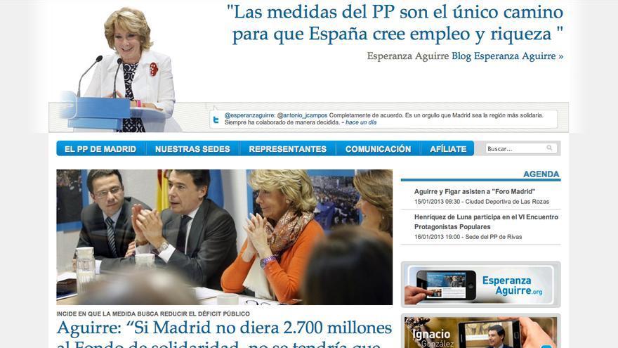 Portada de la página web del PP madrileño (http://www.ppmadrid.es/).