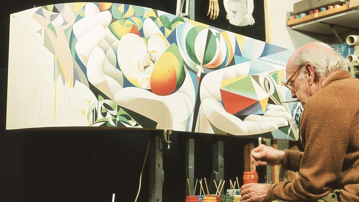 Josep Renau pintando el boceto mural 'El hombre, la naturaleza, la cultura' para la ciudad de Erfurt.